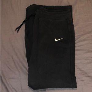 Navy blue Nike wide leg fleece sweat pants